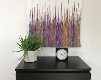 handmade headboard, wall hanging tapestry, woven wall hangings, woven wall tapestry , wise fiber company, custom large weaves, over bed art,