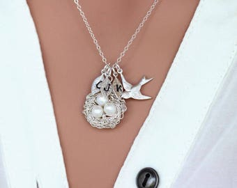 Mothers day gift - Bird Nest Necklace - Sterling Silver Birds Nest Necklace - Personalize Mothers Day gift for MOM - Eggs Bird nest necklace