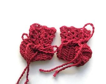 "Preemie Baby Booties Red Baby Shoes Crochet Booties 2 "" Newborn Shoes OOAK Booties Reborn Baby Doll"