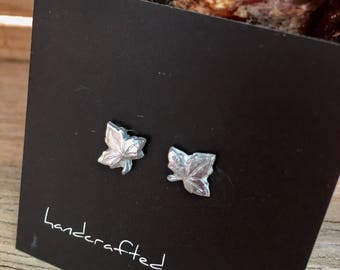 Fine Silver Maple Leaf Stud Earrings