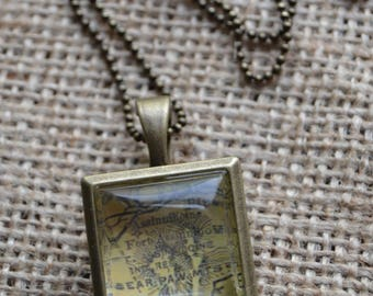 Brass Locket with Bear Paw Mountains, MT on Chain