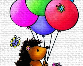 Image #46 - Balloon Hedgehog by Sasayaki Glitter Digital Stamps - Naz - Line art Only - Black and White