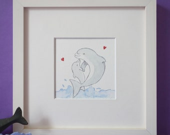 Dolphin  -Nursery picture - Baby gift -Deco for kids & baby's room- BABY DOLPHIN and his MUM