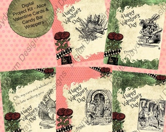 Instant Download Digital Printable Project Kit - Alice in Wonderland Cards, Envelopes and Mini-Candy Bar Wrapper Set - Belated version too