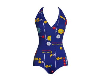 1970s Vintage NOS Blue Floral Graphic Swimsuit, Retro 70s Deadstock NWT Red Yellow and Blue Halter One Piece Maillot by Elemko Small