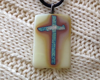 Old rugged cross fine silver fused glass cross pendant jewelry Easter christian