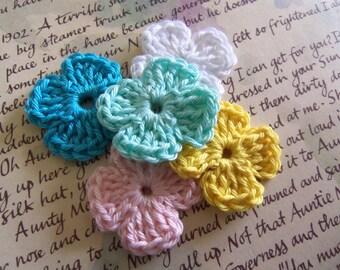 Crochet 4-Petal Flowers. Handmade Crochet Flowers. Flower Appliques. Assorted Flower Appliques.