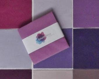 Boundless Solids Purple Passion 5 inch Precut Fabric Squares