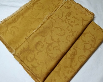 2.5 Yard Cut of Fabric in Gold Jacquard or Damask, 2 Yards x 27 Inch Wide and 1.25 Yard x 27 In. Home Decor, Fabric, Pillows, Drapes