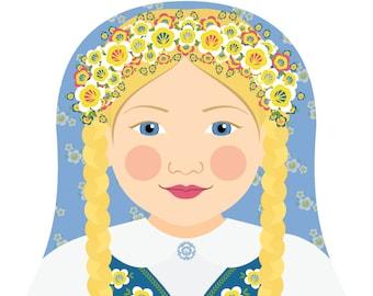 Swedish Wall Art Print features culturally traditional dress drawn in a Russian matryoshka nesting doll shape