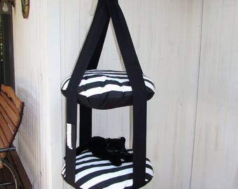 Cat Bed, Black & White Stripe Double Kitty Cloud Hanging Cat Bed, Pet Furniture, Cat Tree