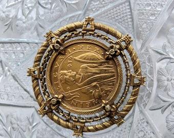 Vintage Large JEANNE Royal Coin Brooch