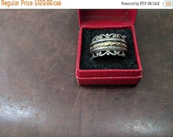 ON SALE Vintage Sterling Silver and Gold Spinner Ring