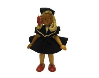 Vintage French Sailor Girl Doll. 1930s Toy. Hand Painted Wooden Doll.