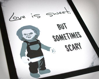 Love is Sweet Scary Horror Treat Bar Sign Monster Movie Wedding Customization Available up to 8x10 Gothic