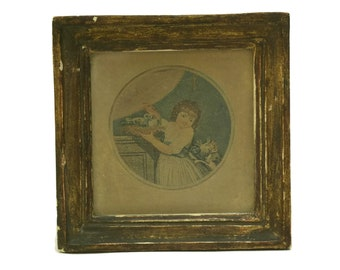 Tom and His Pigeons. Framed Art Antique Engraving Print by Charles Knight after John Russell. Miniature Child Portrait with Cat and Birds.