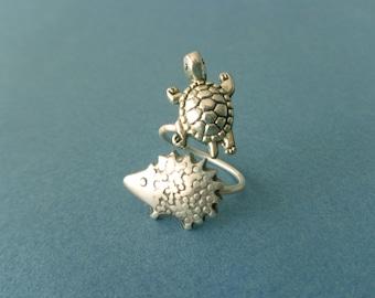Turtle and hedgehog ring, adjustable ring