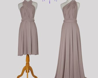 Taupe bridesmaid dress infinity Dress Convertible Formal,wrap dress party dress Evening dress -C48# B48#