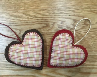 Rustic Heart Decorations, Christmas Decorations, Christmas Tree Decoration Set, felt christmas ornaments