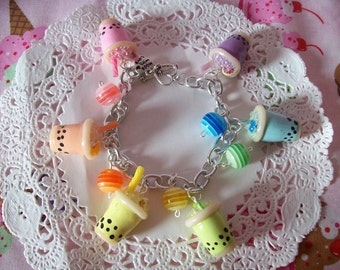 Rainbow Bubble Tea Charm Bracelet - Made to Order
