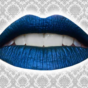 SELENE Liquid Lipstick, Metallic Navy Blue, Dark Royal Blue, Deep Blue Lipstick, VEGAN Lipstick, Night Goddess, Ships Out in 5-8 Days