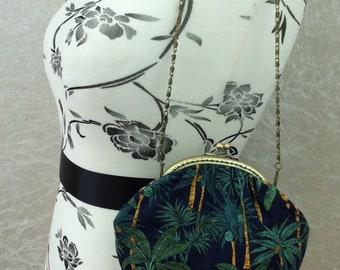 Handmade handbag Palm Trees Alice fabric clutch frame kiss clasp purse bag