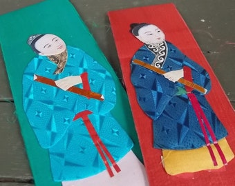 Asian Character Pieces--Set of 11 Satin Covered Bookboards with Tranditional Asian Characters Craft Supply Art Project Home Decor