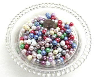 8g (300) 6mm Round Glass Pearl Beads Asst. Colors (B96b)