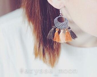 Brown beige orange pompoms Bohemian Silver earrings