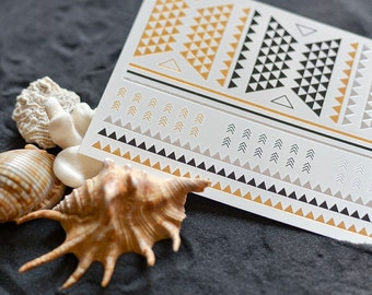 TEMPORARY TATTOOS ! Geometric gold shaped tattoos, arrow and triangles temporary tatts - 60 rings bracelets and more
