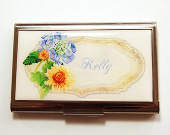 Custom Case, Personalized Business Card Case, Flower, card case, business card holder, Personalized, Floral case, Flower case (4105)