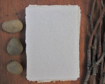 """Handmade Paper sheets, Grey Recycled paper, Decorative paper, Eco friendly craft paper, 16 Natural notecards, 3"""" x 4"""" (7.5 x 10.5)"""