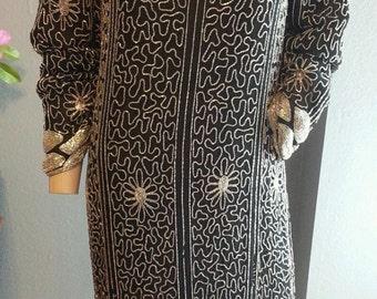 Vintage Floral Stripe Black Silver 80's does 20's Beaded Silk Trophy Dress S