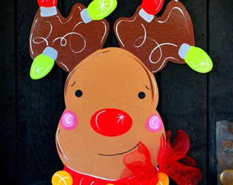Reindeer Door Hanger, Christmas Wreath, Christmas Reindeer Door Decor, Christmas Decor, Rudolph Door Hanger, Holiday Decor
