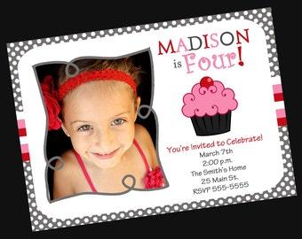 Girls Birthday Invitation Cupcake with Photo (Printable )Digital File