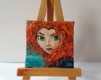 Merida, Brave, tiny painting, acrylic, 5x5cm, handmade, canvas