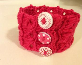 Crochet Broomstick Stitch Cuff Bracelet