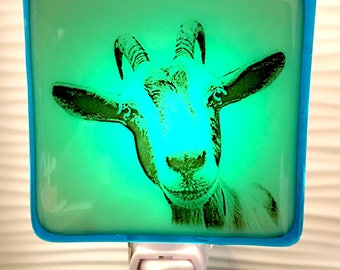 Baby Goat Night Light Fused Glass