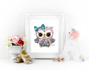 Nursery Owl | Owl Wall Art | Button Art Owl | Gallery Wall | Cute Owl | Gender Neutral Nursery | Button and Swarovski | Baby Shower Gifts