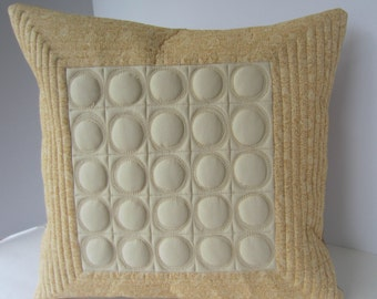 Neutral Pillow, Quilted Pillow Cover, Beige Toss Pillow, Decorator's Pillow, Contemporary Pillow, Quilted Circles Pillow, Quilted Toss Pillo