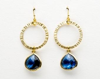 Blue Sapphire Earrings, Sunny Window Earrings, Dangle Earrings, Wedding Jewelry, Bridesmaid Jewelry, Mother's Day