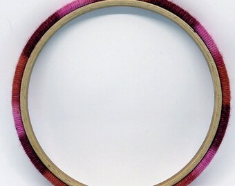 Embroidery Hoop - Yarn Wrapped variegated pink, Made to Order, Handmade