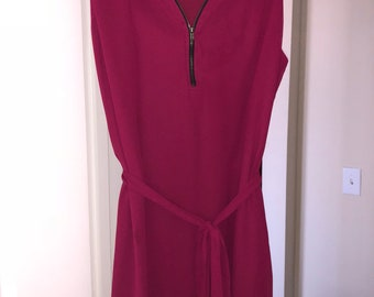 Red Satin Dress XL runs Medium