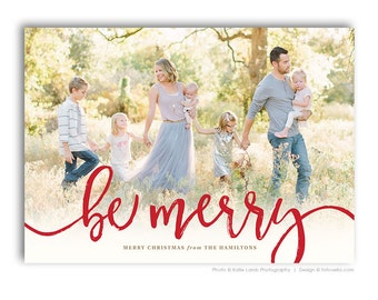 Year In Review Christmas Card - Holiday Newsletter Card Template - For Photographers - Photoshop Required - BE MERRY - 1587
