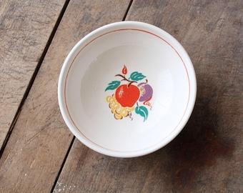 Rustic Vintage Farmhouse Bowl Bake Oven Serving Bowl Apple Grape Plum Red Stripe Fruit Bowl