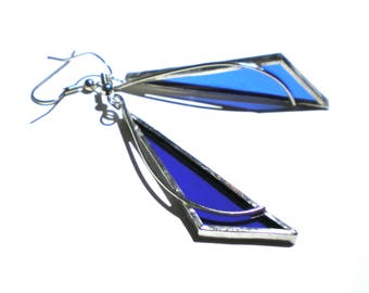 Saphir Geometrie - Glasmalerei-Ohrringe - langes blaues Dreieck Frauen Zubehör leicht Schmuck nickelfrei Haken (sofort lieferbar)