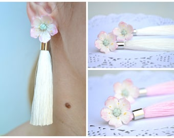 Wedding white pink sakura blossom tassel earrings . Bridal bride brides white pink tassel earrings. Statement earrings