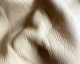 "8"" X 10"" Grainy Khaki Beach Sand Color Cowhide - Soft and Pebbled Texture"