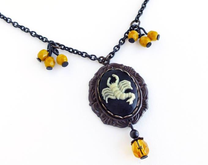 Scorpio Zodiac Cameo Necklace Vintage Black Astrology Cameo Pendant Jewelry Zodiac Victorian Astrology Black Mustard Necklace