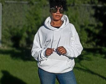 White I'M LOGiiC hoodie